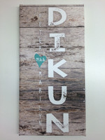 Barn wood Personalized Modern Canvas Wall Hanging Wedding Art Print
