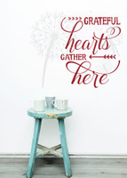 Grateful Hearts Gather Here Fall Wall Decals Quotes Vinyl Sticker for Home Decor