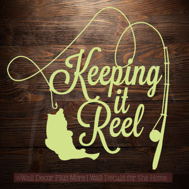 Keeping it reel fishing pole and fish on line wall art for Keep it reel fishing
