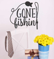Gone Fishing Wall Art Vinyl Sticker Decals for Fisherman Cabin Décor-Black