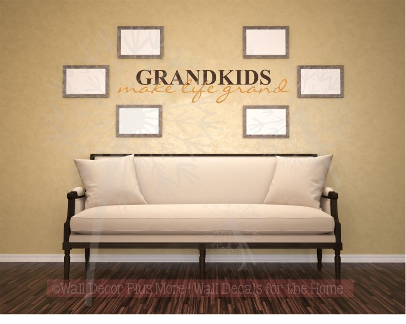Grandkids Make Life Grand Wall Decals Sticker Vinyl Lettering, 2 Color.  Loading Zoom