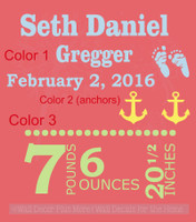 Baby Boy Personalized Vinyl Lettering Wall Decal Sticker with Birth Stats
