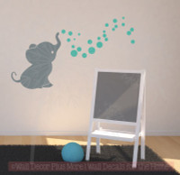 Elephant with Bubbling Dots Vinyl Wall Decals Stickers for Baby Nursery Wall Décor