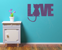 Love Wall Words with Cat Silhouette Wall Art Decal Stickers