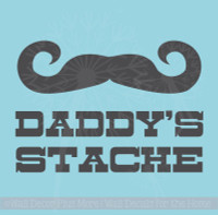 Daddy's Stache Vinyl Glossy Decal Stickers Lettering for Glass Jar