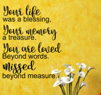 Your Life Was A Blessing, Missed Beyond Measure Wall Words Vinyl Lettering Wall Decals-Black