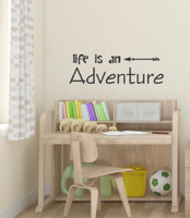 Life Is An Adventure Wall Decal Sticker With Modern Arrow Art-Black