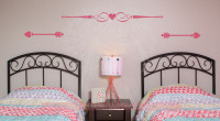 Home Décor Wall Art Decals Decorative Wall Stickers, Swirls, Heart & Arrows, Set of 3