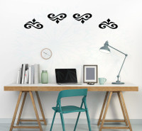 Decorative Home Décor Wall Art Decal Stickers, Set of 4 Scrolls, 3x5.5-Inch Each-Black