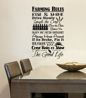Farming Rules The Good Life Wall Lettering Vinyl Stickers Decal Quotes Black