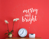 Merry & Bright Vinyl Wall Lettering Quotes Decals Holiday Wall Stickers-White