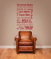 Farming Rules Subway Art Wall Lettering Quotes Vinyl Decal Sticker-Red
