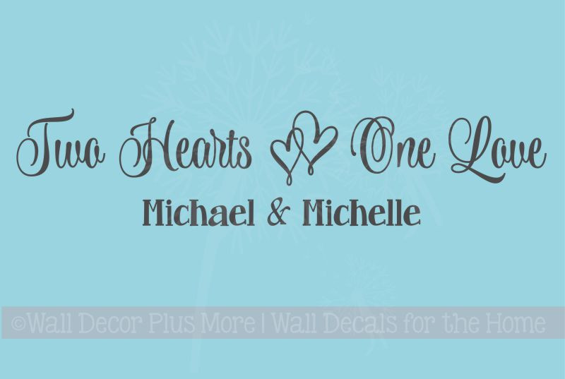 Two Hearts One Love Wall Decals Vinyl Decal Bedroom