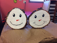 Create Your Own Snowman Face Vinyl Decals Winter Holiday Wall Stickers, Set of TWO, Watch the video below to see how we made these adorable winter decor wood slabs!