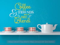 Coffee and Friends Perfect Blend Vinyl Lettering Wall Decal Kitchen Saying-Yellow, Light Gray