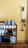 Monkey Growth Chart Wall Decal Sticker Art for Tracking Children's Growth- Chocolate Brown