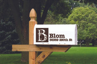 Floral Letter Monogram Personalized Mailbox Decal Vinyl Address and Name