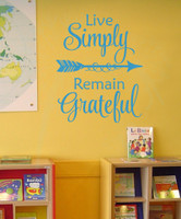 Live Simply, Remain Grateful Wall Vinyl Decals Inspirational Home Decor Stickers-Teal