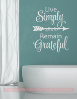 Live Simply, Remain Grateful Wall Vinyl Decals Inspirational Home Decor Stickers-Light Gray