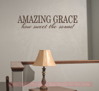 Amazing Grace How Sweet The Sound Vinyl Decals Wall Letters Wall Quotes for Home Decor-Chocolate Brown