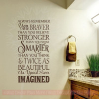 Remember You Are Braver Twice As Beautiful Vinyl Stickers Wall Decals Inspirational Wall Art-Chocolate Brown