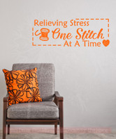 Relieving Stress One Stitch at a Time Wall Decor Vinyl Sticker Decals Sewing Wall Art-Pastel Orange