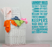 Laundry Rules It's A Dirty Job Home Decor Vinyl Lettering Decals Wall Sticker Quotes-Teal