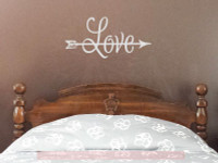 LOVE with Arrow Romantic Home Decor Vinyl Wall Sticker Lettering Wall Quotes-Light Gray
