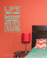 Life is Better Laughing Inspirational Wall Art Decals Arrow Wall Vinyl Lettering Quote-Mint Green