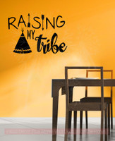Raising My Tribe Family Wall Decals Home Decor Arrow Vinyl Lettering Quote-Black