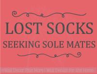 Lost Socks Seeking Sole Mates Vinyl Lettering Wall Art Decor Laundry Sticker Quote