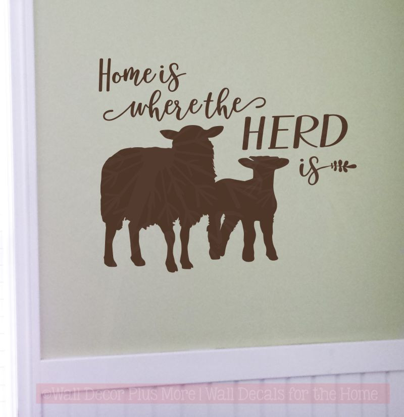 Sheep Wall Art Home Decor ~ Home is where herd sheep wall decals vinyl sticker farm