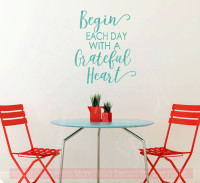 Begin Each Day Grateful Vinyl Lettering Decals Wall Quote Stickers for Home Kitchen Decor Turquoise