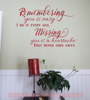 Missing You Is A Heartache Vinyl Lettering Quote Wall Decor Art Memorial Decals Red