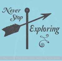 Never Stop Exploring Wall Sticker Art Vinyl Lettering Decals Arrow Home Decor Quote