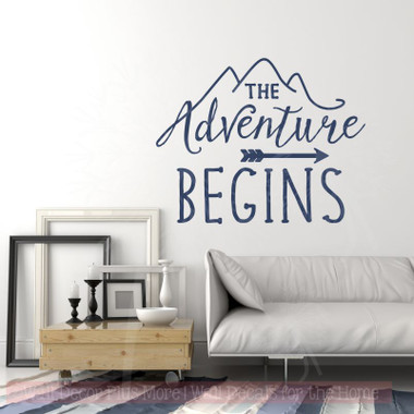 The Adventure Begins Wall Sticker Art Vinyl Letters Decals Arrow Camper Quote Deep Blue