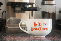 Morning Gorgeous Hello Handsome Mug Tumbler Decals Vinyl Letters Stickers Rtic Yeti Art Saying Red