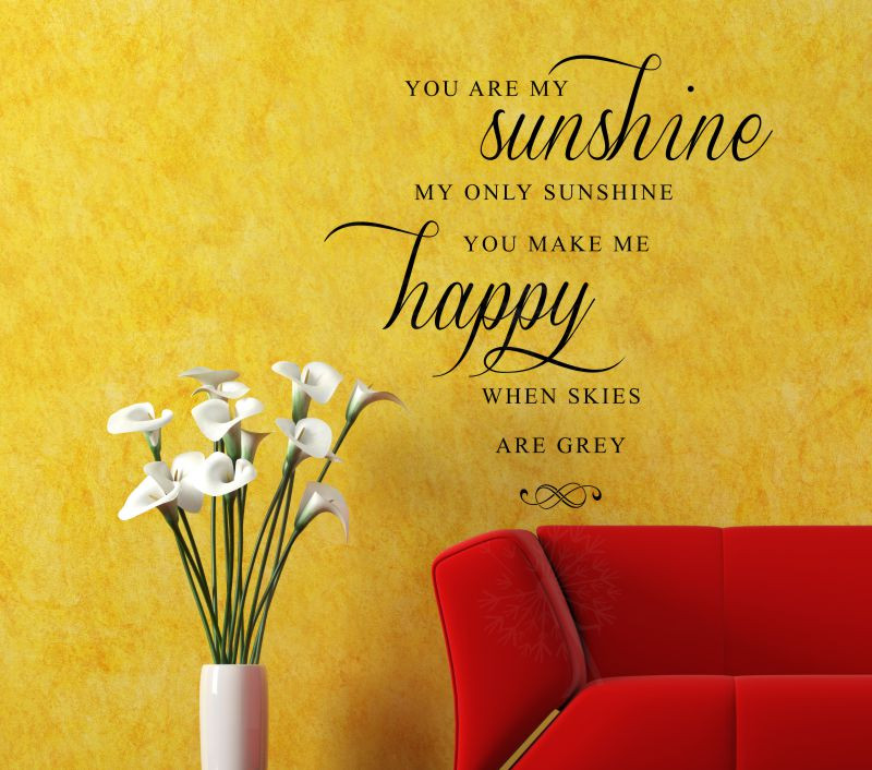 You Are My Sunshine, Make Me Happy  Love Song  Wall Decal Phrase For.  Loading Zoom