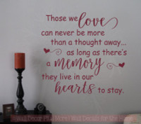 Those We Love Live In Our Hearts Memorial Vinyl Lettering Wall Decal Stickers Family Home Decor-Burgundy