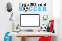 Kick Out of Soccer Sports Decals Wall Stickers Vinyl Lettering Art Boy Bedroom Decor-Black, Ice Blue