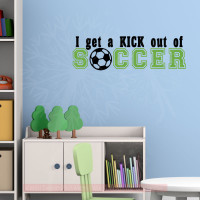 Kick Out of Soccer Sports Decals Wall Stickers Vinyl Lettering Art Boy Bedroom Decor-Black, Lime Green