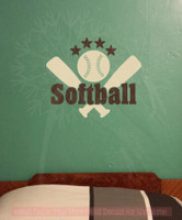 Softball with Bats Stars Teen Wall Sticker Decals Vinyl Lettering Art Sports Bedroom Decor-Beige, Chocolate Brown