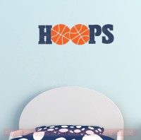 HOOPS Basketball Vinyl Lettering Wall Sticker Art Teen Sports Decals Bedroom Decor-Deep Blue, Orange