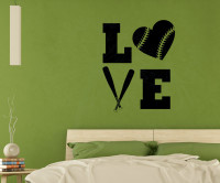 LOVE Softball Teen Vinyl Letters Art Wall Decals Stickers Girls Sports Bedroom Decor-Black