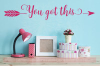 You Got This with Arrow Vinyl Letters Decals Inspirational Wall Art Stickers Home Decor Quote-Hot Pink