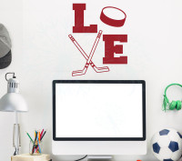 LOVE Hockey Sports Vinyl Letter Decals Wall Stickers Boys Room Decor Art Red