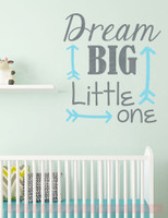 Dream Big Little One Nursery Vinyl Lettering Stickers Wall Decals Baby Room Decor- Storm Gray, Geyser Blue