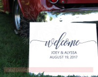 Welcome Personalized Wedding Vinyl Lettering Stickers Wall Decals for Home Decor Gift-Deep Blue