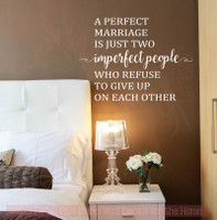 Perfect Marriage Is Two Imperfect People Wall Decals Vinyl Lettering Art Master Bedroom Sticker Quote-White