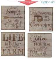 Stencil Sticker Decals for 12x12 Wood Sign Pallet Board, Option 1